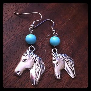 Jewelry - Turquoise Beaded Handmade Horse Earrings New